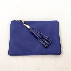 MERONA Pebbled Faux Leather Zipper Clutch Blue NEW